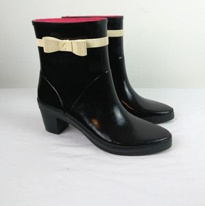 Kate Spade Paloma Black Rubber Rain Heels Boots